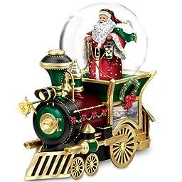 Thomas Kinkade Santa Claus Is Comin\' To Town Musical Snowglobe Train Car by The Bradford Exchange