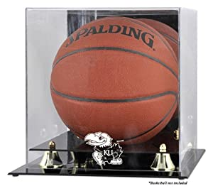 Kansas Jayhawks Golden Classic Basketball Logo Display Case with Mirror Back by Mounted Memories
