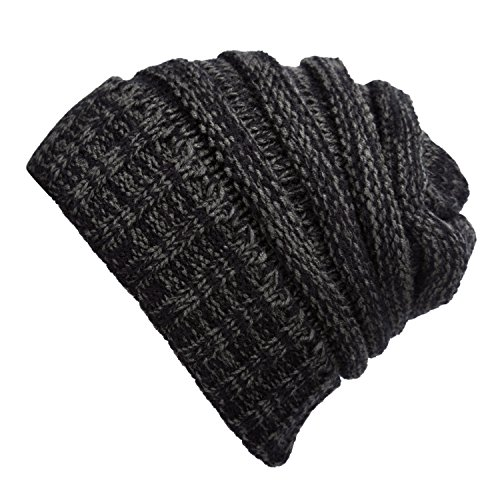 WINCAN Stretch Cable Slouchy Beanie Hat Trendy Warm Chunky Soft Knit Cap (black grey) (Diamond Sun Visor compare prices)