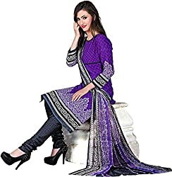 Style Amaze Cotton Purple Dress Material