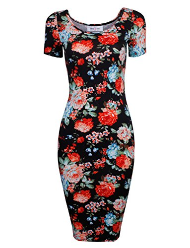 Toms-Ware-Womens-Slim-Fit-Sweetheart-Scoop-Neck-Short-Sleeve-Midi-Dress