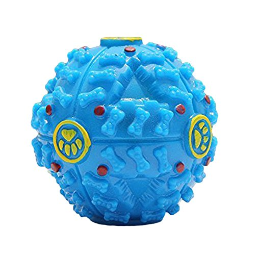 Wildgirl Funny Pet Puppy Dog Training Toys with Sound Food Dispenser Treat Ball Wobbler Toy (S, Blue)