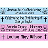Personalised Christening Baptism Dedication Holy Communion Confirmation Banner Party Decoration - All Colours!