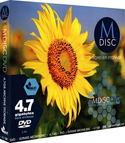 Millenniata mdij003M Disc DVD (4,7GB, 1-4x, à jet d'encre druckbar, mince coque étui housse, 3x disque)