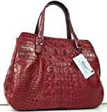 100% Big Hornback Genuine Crocodile Leather Handbag Bag Hobo Burgundyred New