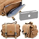 DURAGADGET Tan-Brown Large Sized Canvas Carry Bag - Compatible with the NEW TDK A33 Portable Bluetooth Speaker - With Multiple Pockets & Customizable Interior Compartment