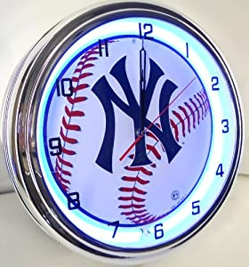 NEW YORK YANKEES NY BASEBALL 15 NEON LIGHTED WALL CLOCK TEAM STADIUM LOGO METAL SIGN... by NY
