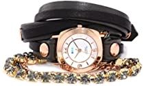 La Mer Collections - Astoria Crystal Leather Wrap Watch