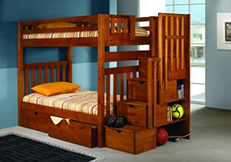 Bunk Bed Twin Over Twin with Stairway and Drawers