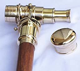 Shiv Shakti Enterprises Wooden Walking Stick With Fitted Solid Brass Telescope On Handle Simple Wooden Cane