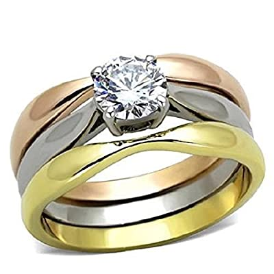 Yourjewellerybox Tk1278Pb 3Pcs Solitaire Wedding Band Engagement Ring Set Simulated Diamond Ring