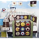 Super Sport Fan (Sage & brown) Baby Crib Nursery Bedding Set 14 pcs included Diaper Bag with Changing Pad & Bottle Case
