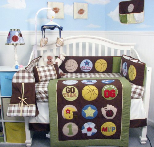 Super Sport Fan (Sage & Brown) Baby Crib Nursery Bedding Set 14 Pcs Included Diaper Bag With Changing Pad & Bottle Case front-518706