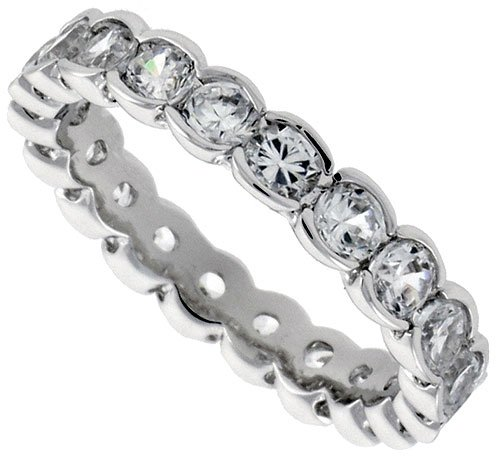 Sterling Silver Cubic Zirconia Eternity Ring Rhodium finished w/ 2.5mm Brilliant Cut 1/8 inch (4 mm) wide, size 8