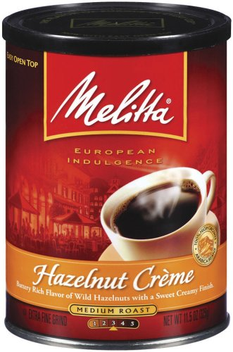 Melitta Hazelnut Creme Ground Coffee, 11.5-Ounce Cans (Pack of 4)