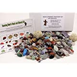 ROCK & MINERAL COLLECTION Kit with 2 Easy Break Geodes Activity KIt with Over 150+PCS Comes with Identification Sheet EDUCATIONAL DISCOVERY TREASURE KIT SORT, FIND, IDENTIFY