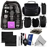 Professional Protection Kit for DSLR Cameras (Canon Nikon Sony Pentax) - Includes: Backpack + Camera Bag + SD Memory Card Case + Altura Photo Lens Pouch Set + 2 Filter Pouches + Altura Photo Cleaning Kit + MagicFiber Microfiber Lens Cleaning Cloth
