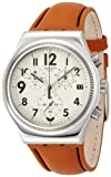 Swatch Leblon Beige Dial SS Tan Leather Quartz Chronograph Ladies Watch YVS408