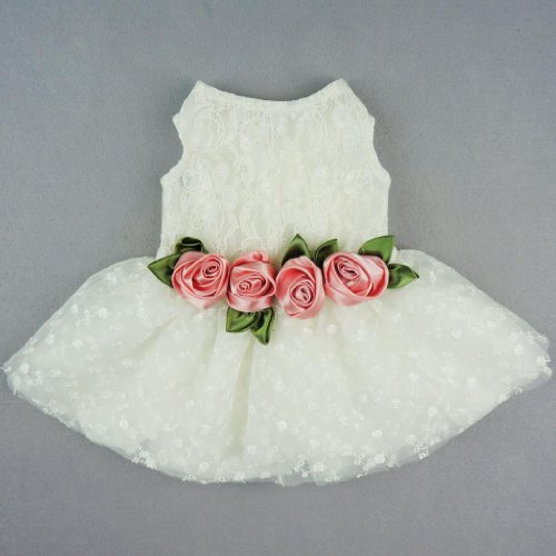 Fitwarm Luxury Rose Lace Pet Dog Weddding Dress Bride Clothes Formal Apparel, Large
