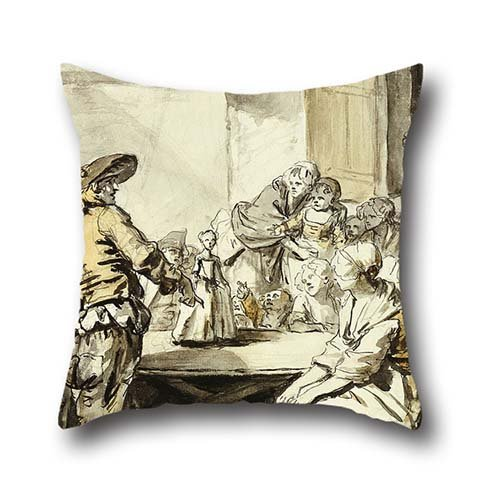 Oil Painting Jean-Baptiste Greuze - Savoyard With A Dancing Doll Pillow Shams ,best For Him,bedding,living Room,birthday,car Seat,home 18 X 18 Inch / 45 By 45 Cm(twice Sides)