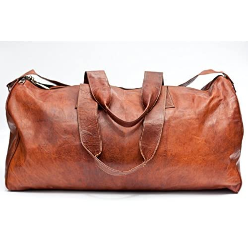 Urban Safari London Unisex Handmade Real <strong>Leather< strong> Duffel <strong>Bag Weekend Bag< strong> Tan <strong>Brown< strong> Hemingway Duffle <strong>Bag< strong>