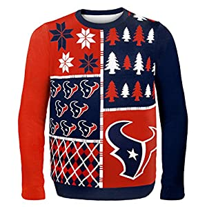 NFL Houston Texans Busy Block Ugly Sweater, X-Large, Red