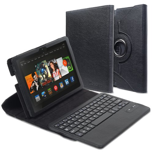 =>>  GreatShield 2!Go 360 Degrees Detachable Wireless Bluetooth Keyboard Leather Folio Stand Case with Sleep/Wake Function for Kindle Fire HDX 7
