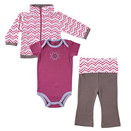 Yoga Sprout Baby Girls 3 Piece Lotus Track Jacket Bodysuit