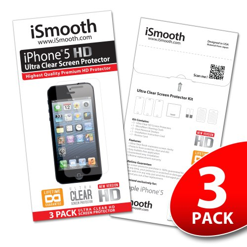 Apple iPhone 5 Screen Protector - NEW 2013 Ultra Premium HD Version - 3 PACK Ultra Clear - iSmooth - Free Lifetime Replacement Guarantee - Bubble Free Installation Guaranteed - Package Includes BONUS Premium Microfiber Cleaning Cloth, Two (2) Dust Removal Stickers, Installation Tips with Video, and Three (3) Ultra Clear Screen Protectors
