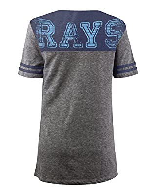 MLB Tampa Bay Rays Oversized Top with Contrast Yoke and Split Henley