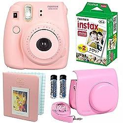 Fujifilm Instax Mini 8 Instant Film Camera Pink + Fujifilm Instax Mini Instant Film Twin Pack (20 Sheets) + Pink PU leather Case With Photo Album 64 Pockets Pink Value Set Bundle (4 item)