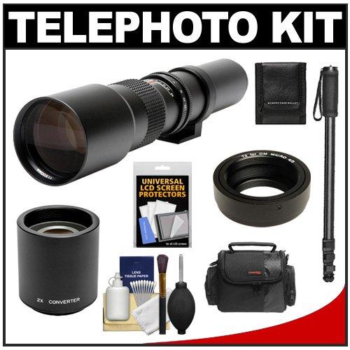 Rokinon 500Mm F/8 Telephoto Lens & 2X Teleconverter (= 1000Mm) With Case + Monopod + Kit For Olympus Om-D Em-5, Pen E-P2, E-P3, E-Pl2, E-Pl3, E-Pm1 & Panasonic Micro 4/3 Digital Cameras