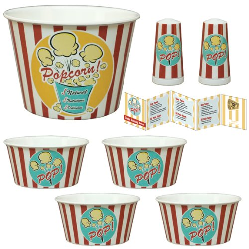 Large Gourmet Popcorn Bowl Gift Set  7 Pieces