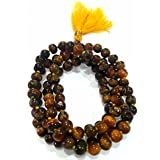 Divya Shakti Tiger Eye / Tiger Stone Mala ( 8 Mm ) 108+1 Beads For Courage & Self Confidence