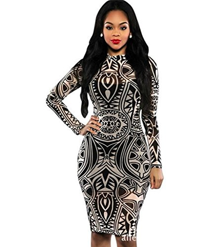 Sexy-Women-Tribal-Tattoo-Printed-Party-Dress-Summer-Dress