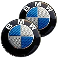 Bmw Blue Silver Carbon Fiber Emblem Badge Logo For Hood Front Trunk Rear 82mm 323 Inch Self Adhesive At The Back