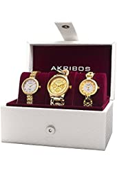 Akribos XXIV Women's AK907YG Analog Display Quartz Gold Watch Set