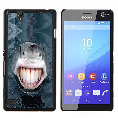 STAR ECELLPHONE CASE // Kühles Foto Hülle Hart Schutzhülle PC HandyHülle / Hard Case for Sony Xperia C4 - Lustiges Lol Menschen Haifisch-Zähne -Funny Lol Human Shark Teeth
