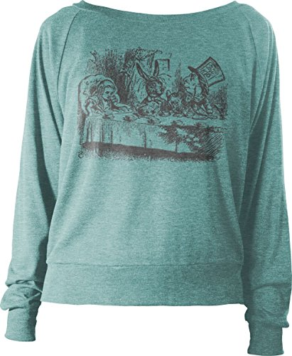 Big Texas Alice in Wonderland - Mad Hatter's Tea Party (Grey) Women's Long-Sleeve Relax Fit Top