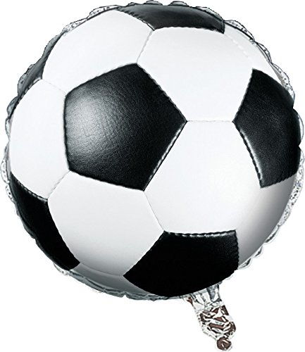Creative Converting Sports Fanatic Soccer Metallic Balloon, Black/White - 1