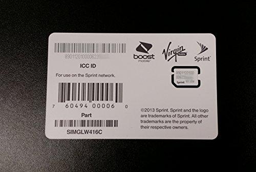 Sprint Boost Virgin Mobile iPhone 5s & 5c Nano SIM Card ICCID SIMGLW416C (Virgin Mobile Nano Sim Card compare prices)