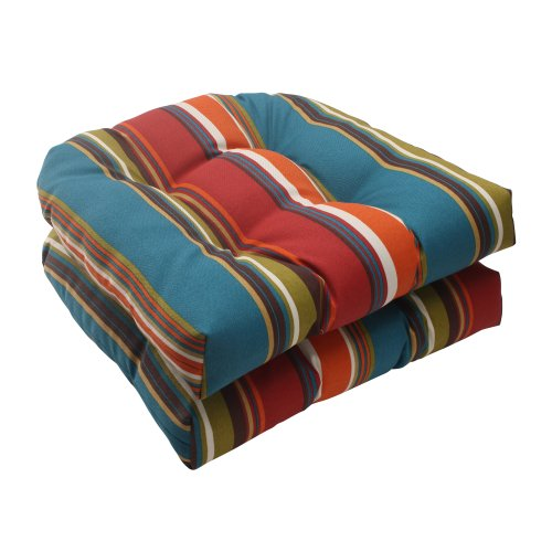 Pillow Perfect Indoor/Outdoor Westport Wicker Seat Cushion, Teal, Set of 2 picture