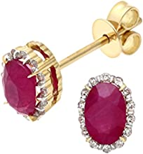 Naava 18ct Yellow Gold 0.80ct Ruby and Diamonds Oval Cluster Earrings
