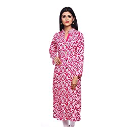 Saamarth Impex Women Cotton Pink Color Printed Work Collar Neck Printed Style With Front Open Kurti SI-2900