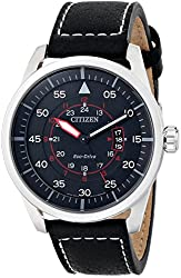 Citizen Men's AW1361-01E Sport Stainless Steel Watch with Black Leather Band