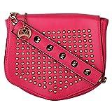 Moedbuille Pink Polyurethane (PU) Sling Handbag