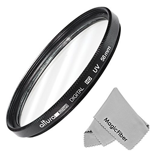 58Mm Uv Ultraviolet Lens Protection Filter For Canon Rebel T5I T4I T3I T3 T2I T1I Xt Xti Xsi Sl1, Eos 700D 650D 600D 1100D 550D 500D 100D + Magicfiber Microfiber Lens Cleaning Cloth