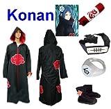 Traje de Cosplay para cosplay Naruto Akatsuki Konan Ninja Set- Capa con capucha(M:Tama�o 159cm-168cm)+caja de l�piz+Konan diadema+anillo+zapatos