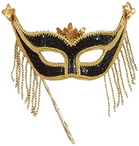 Forum Novelties Women's Beaded Masquerade Mask with Holding Stick - 1