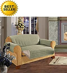 #1 Best Seller Reversible Furniture Protector! Elegant Comfort® Luxury Slipcover/Furniture Protector Great for Pets & Children with STRAPS TO PREVENT SLIPPING OFF, Sofa, Sage/Cream